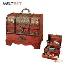 Büyük Vintage Metal kilit biblo mücevher saklama kutusu organizatör el yapımı dekoratif ahşap hazine durumda göğüs hediye