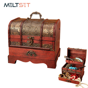 Image 1 - Large Vintage Metal Lock Trinket Jewelry Storage Box Organizer Handmade Decorative Wooden Treasure Case Chest Gift