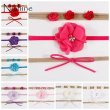 цены на NISHINE 3pcs/lot Newborn Headband Skinny Soft Nylon Headband Chiffon Rose Flower DIY Bow Baby Girl Headband Set Christmas Gift