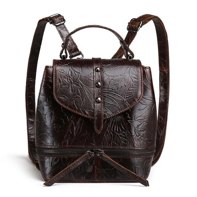 Women s Oil Wax Genuine Leather Cowhide Embossed Handbag Vintage Tote  Handbag Student package travel Back pack DropShipping f8b78cde6e52f