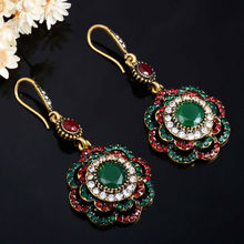 Купить с кэшбэком Joyme Drop Earrings Ethnic Long Clip Crystal Vintage Party Cuff Wedding Bohemian Earrings For Women Collier Femme Oorbellen