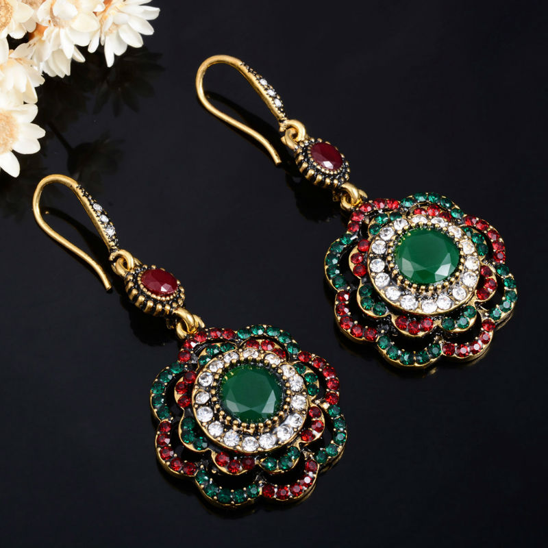 Joyme Drop Earrings Ethnic Long Clip Crystal Vintage Party Cuff Wedding Bohemian Earrings