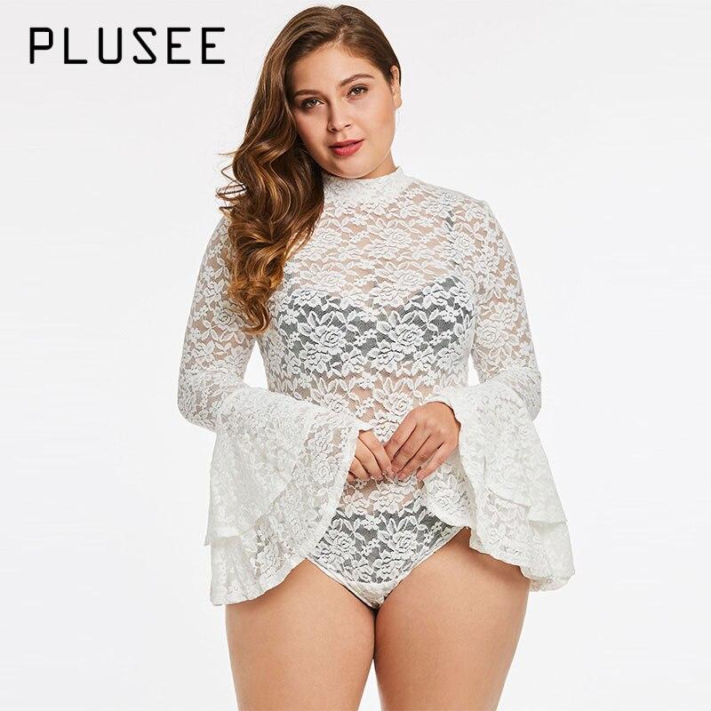 Plusee Jumpsuit Plus Size 3XL 4XL Women Slim Sexy Shorts Plain Hollow Lace Girls Fashion Bodysuits Plus Size Women Jumpsuits