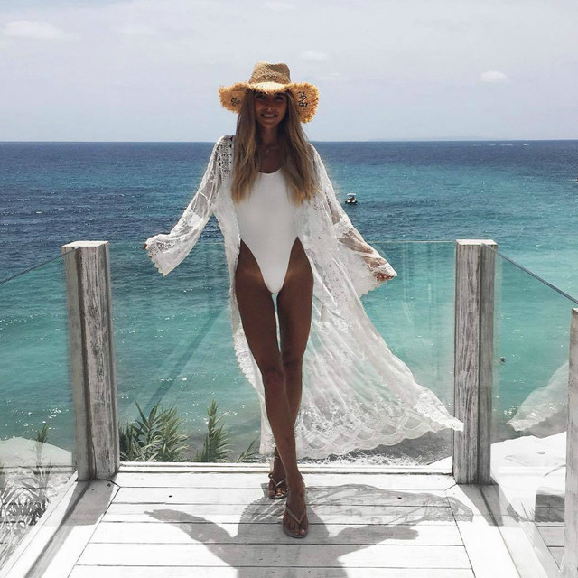 2018 Womens Summer Lace Crochet Bikini Cover Up Print Beach Top Caidigan Beach Swimsuit Cover Up Beach Dress 3