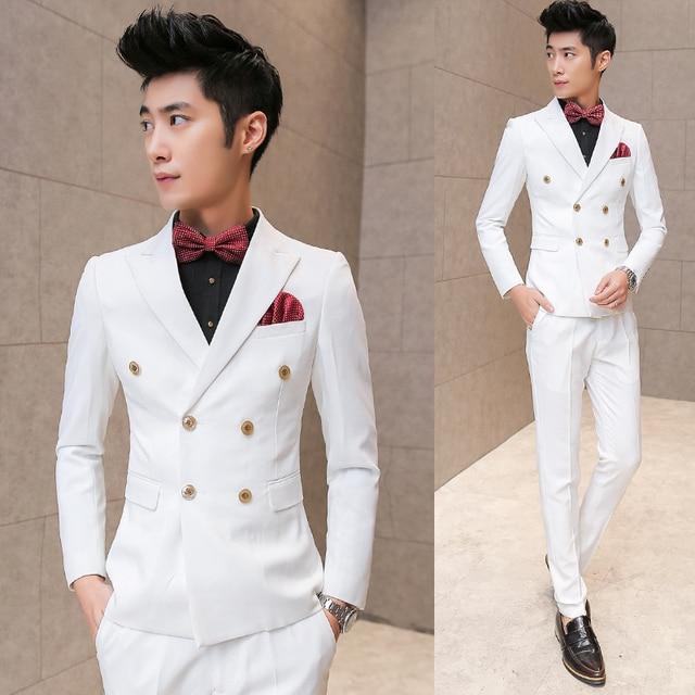 2016 Nova Primavera Casual de Alta Qualidade Branco Puro terno Breasted Dobro, blazer, vestido de noiva, frete grátis (Casacos + Calça + colete)