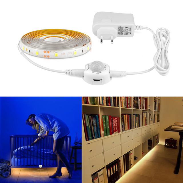 1.5M PIR Motion Sensor LED Night Light Activated Bed Light Waterproof SMD 3528 Flexible LED Strip Tape Closet Cabinet Lamp
