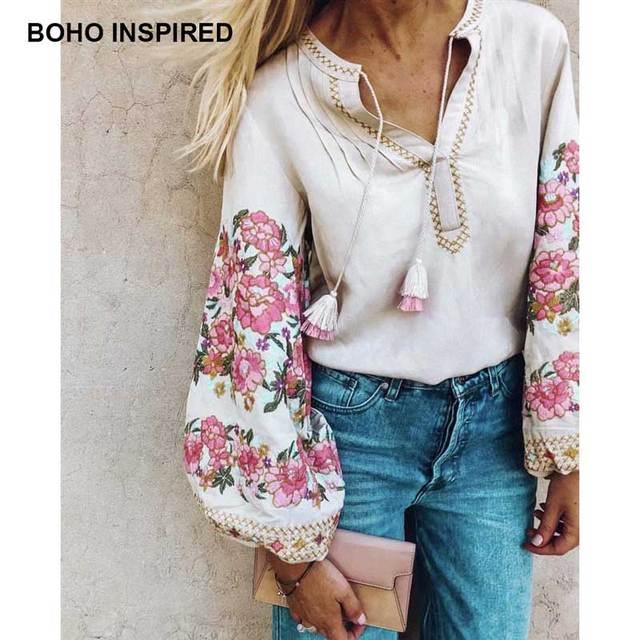 Boho Inspird Floral Embroidered Blouse Long Lantern Sleeve