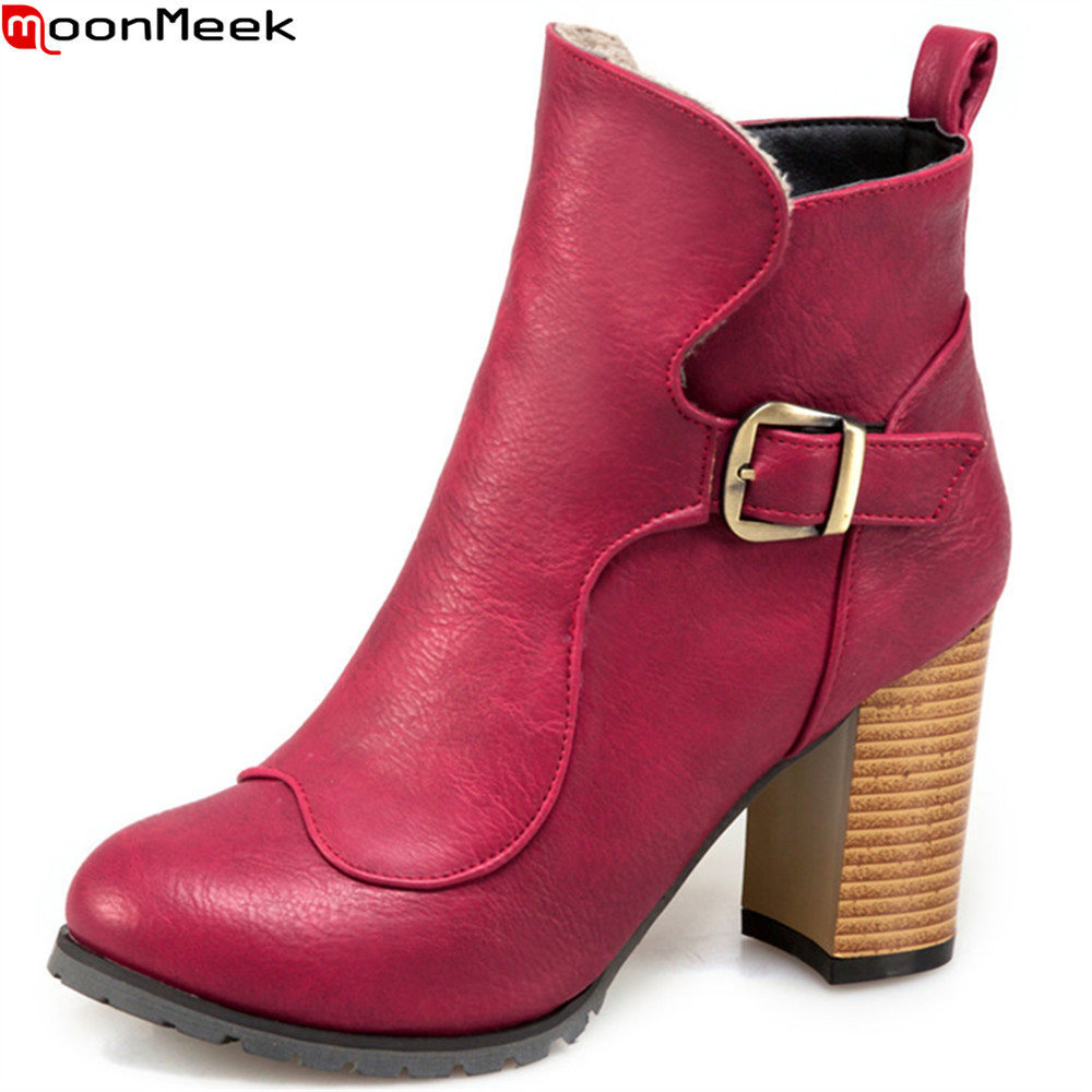 MoonMeek black fashion new autumn winter women shoes round toe ladies shoes buckle thick heel ankle boots plus size 33-48 hxrzyz autumn ankle boots women increased wedges new round toe thick heel female anti skid side zipper shoes black winter boots