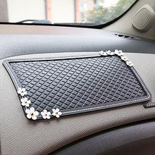 Tapis antidérapant pour tableau de bord de voiture, fleur et diamant, pour téléphone, accessoires de décoration d'intérieur de voiture
