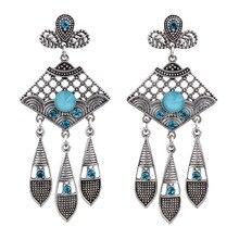 MYTHIC AGE Ethnic Antique Silver 6 Color Resin Geometric Hollow Tribal Tassel Crystal Drop Dangle Earrings For Women Jewelry resin tassel geometric drop earrings