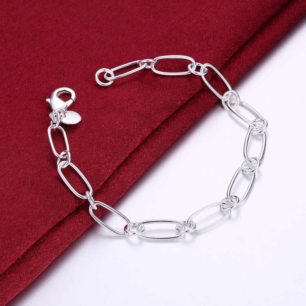 Duża promocja hurtowa 925 tłoczona modna biżuteria posrebrzana srebrny łańcuszek żmijka/pudełko/korale bransoletka 8 INCHE pulseira feminina
