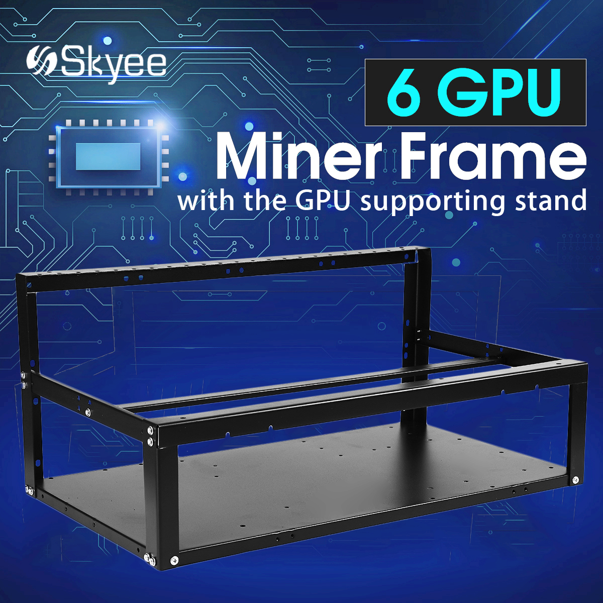 S SKYEE 6 GPU Iron Rackmount Mining Frame Open Air Miner Frame Case Rig Case GPU Computer for ETH Ethereum for Bitcoin