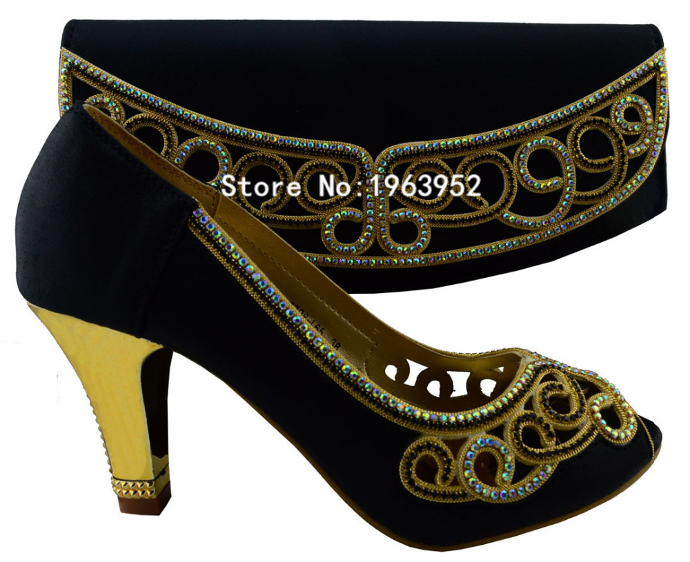 ФОТО FREE SHIPPING!Fashion Italy design shoes and bag set for lady party and wedding with rhinestone item 1308-L65 Black size 38-42