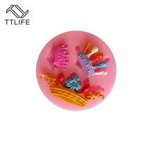 TTLIFE 3 Holes Crown Shape Silicone Mold Kitchen Cookie Cutter Mould Moldes Galletas Fondant Cake Confeitaria Decorating Tools