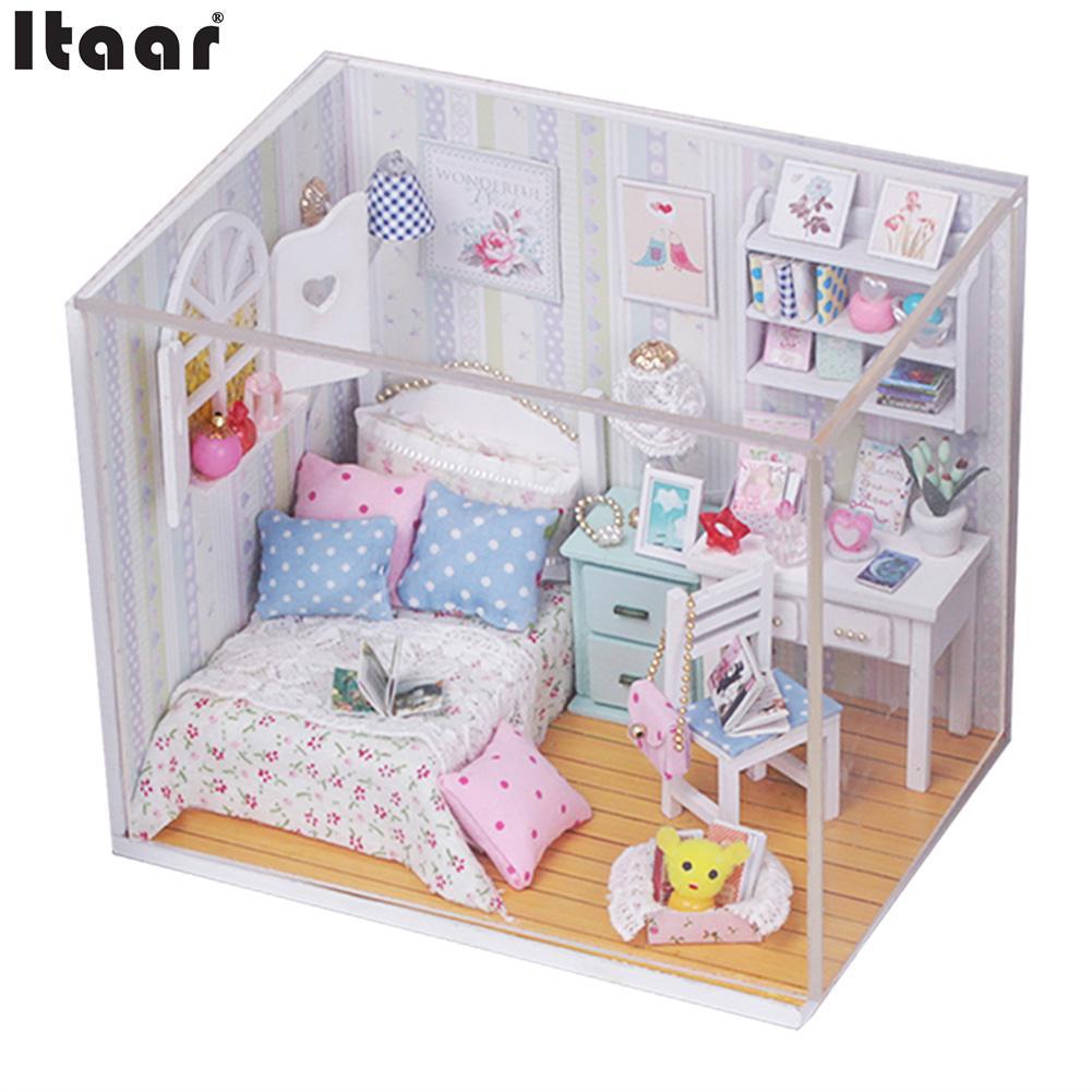 Kits DIY Wood Doll house Bed Miniature With LED Furniture Cover Beautful Luminous Gift Miniaturas Casa De Boneca