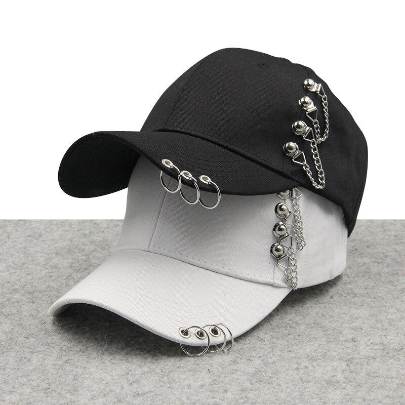 2018 New Brand Metal Ring Iron Hoop   Baseball     Caps   Snapback Adjustable Casual Punk Hats Rock Style Chain Hip Hop   Cap   Shade Hats