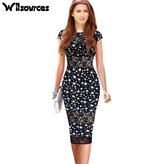Witsources women sexy lace patchwork hollow out dresses summer new star  print short sleeve casual work ec084cf1692e