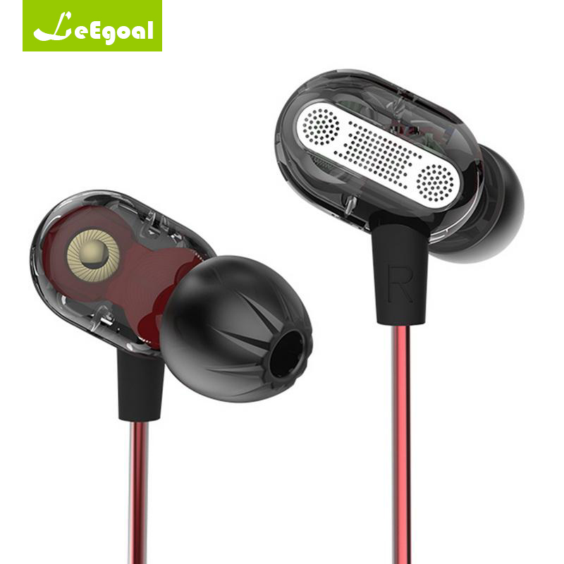 Dual Driver Dynamic Earphone Bass Headset 3.5mm In Ear Audio Monitors Earphone Hifi Wired Sports Earbuds Music With Mic Wired