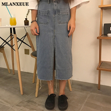 Simple Fashion High Waist Cowboy Split The Fork Skirt Slim Pack Hip Woman Long Skirt 2017 Summer Wild Half Body Denim Skirt