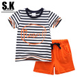 SK Brand 12M-6T Colorful Striped Boys Clothing Sets 2017 Summer Casual Baby Boys Clothes Children Clothing for Boys Kids S