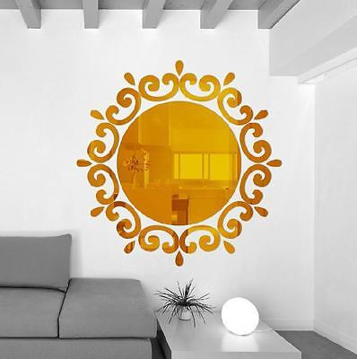 3D Round Mirror Acrylic Flower Effect Sticker Decal Home Wall Decor ...