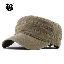 [FLB] классические винтажные мужские бейсболки из промытого хлопка с плоским верхом и шапка с регулируемым подолом, более толстая крышка, зимние теплые военные шапки для MenF314