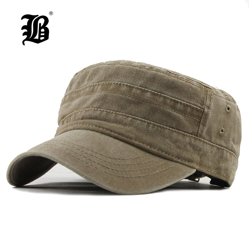 [FLB] 2019 Classic Vintage Flat Top Mens Washed Caps y Hat Ajustable Gorra gruesa de invierno cálido militar sombreros para MenF314