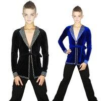 Latin Dance Top Velvet Nylon Long Sleeve Rhinestone Boys Latin Dancing Shirts Salsa Competition Performance Wear Clothes DN2507