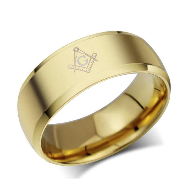 بارد الرجال الماسونية الفولاذ الصلب خواتم للرجال مجوهرات الزفاف مع الذهب والأسود و الفضة خواتم ألياف الكربون