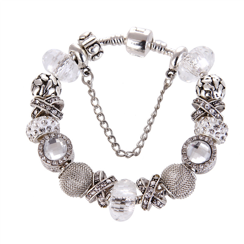 Silver plated Silver plated White crystal Beads Charms Noble DIY Fashion Elegant Pandora Bracelet For Women/Gril gift jewelry