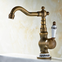 European Style Basin Top Faucet Solid Brass Antique Cold And Hot Bathroom Retro Pure Washbasin Faucet