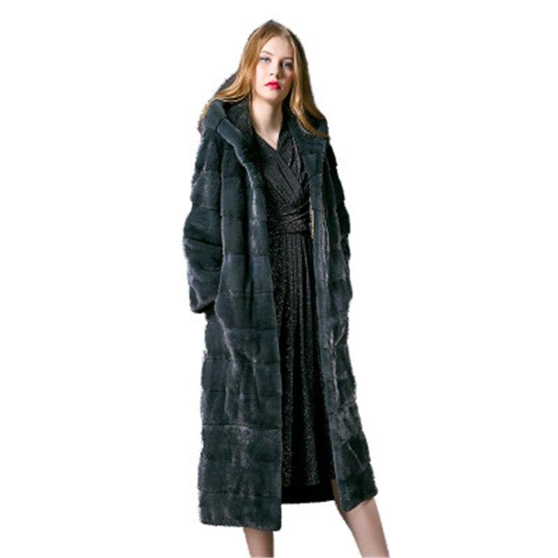 Imported Velvet Hooded Mink Coat Female Long Fur Coat 2019 Winter New 684
