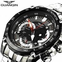 GUANQIN Men Watch Top Brand Luxury Chronograph Stainless Steel Quartz Watch Luminous Men S Clock Hours