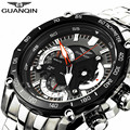 GUANQIN Men Watch Top Brand Luxury Chronograph Stainless Steel Quartz Watch Luminous Men's Clock hours male Quartz-watch Relogio