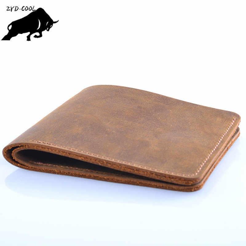 ZYD-COOL Famous Brand Genuine Leather Men Wallets Handmade Men's Wallet Male Money Purses Coins Wallet With ID Card Holder