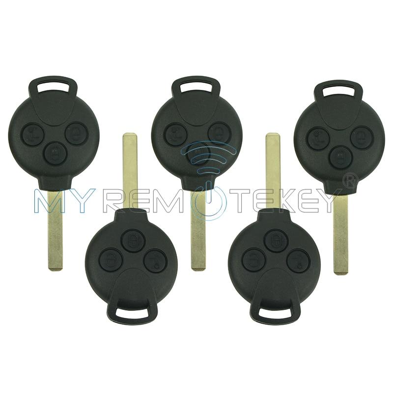 5 шт. удаленной машине брелок-контроллер 3 кнопки 434 мГц 7941 чип для Smart Fortwo 2007 2008 2009 2010 2011 2012 2013 remtekey