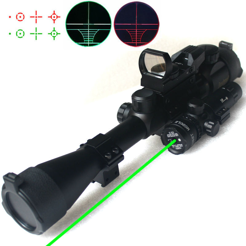 ФОТО 3in1 Gun Hunting Riflescopes Tactical Optics Reflex Holographic Red Green Dot Laser Sight Scope With Mount For Shooting