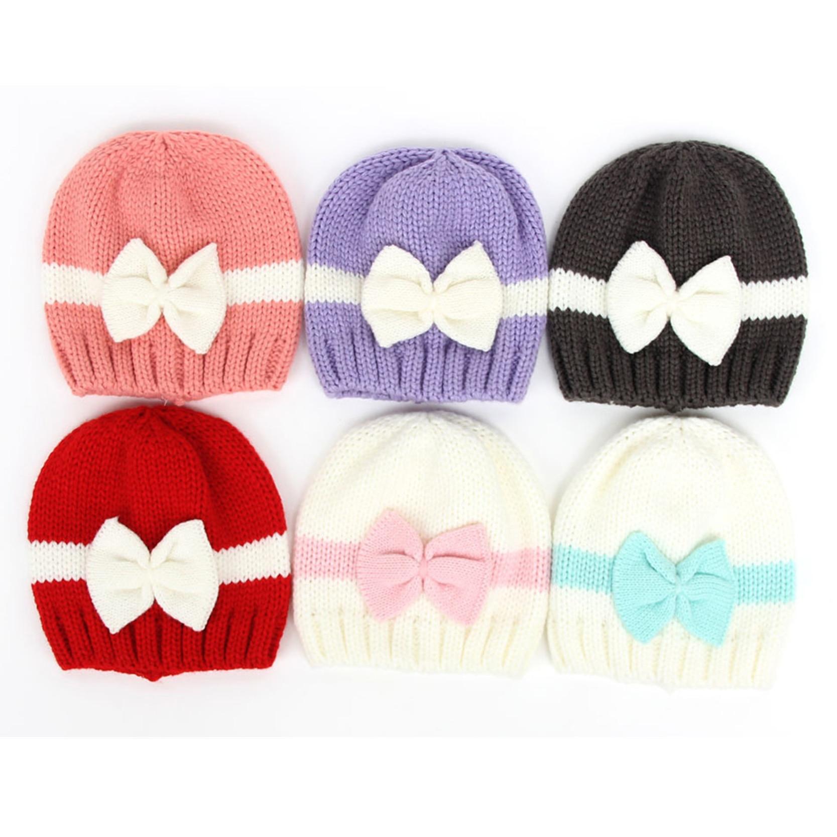 5f3079e9 New Cute Newborn Baby Knitting Hat Bow Knot Cap Infant Girl Winter Warm  Beanie
