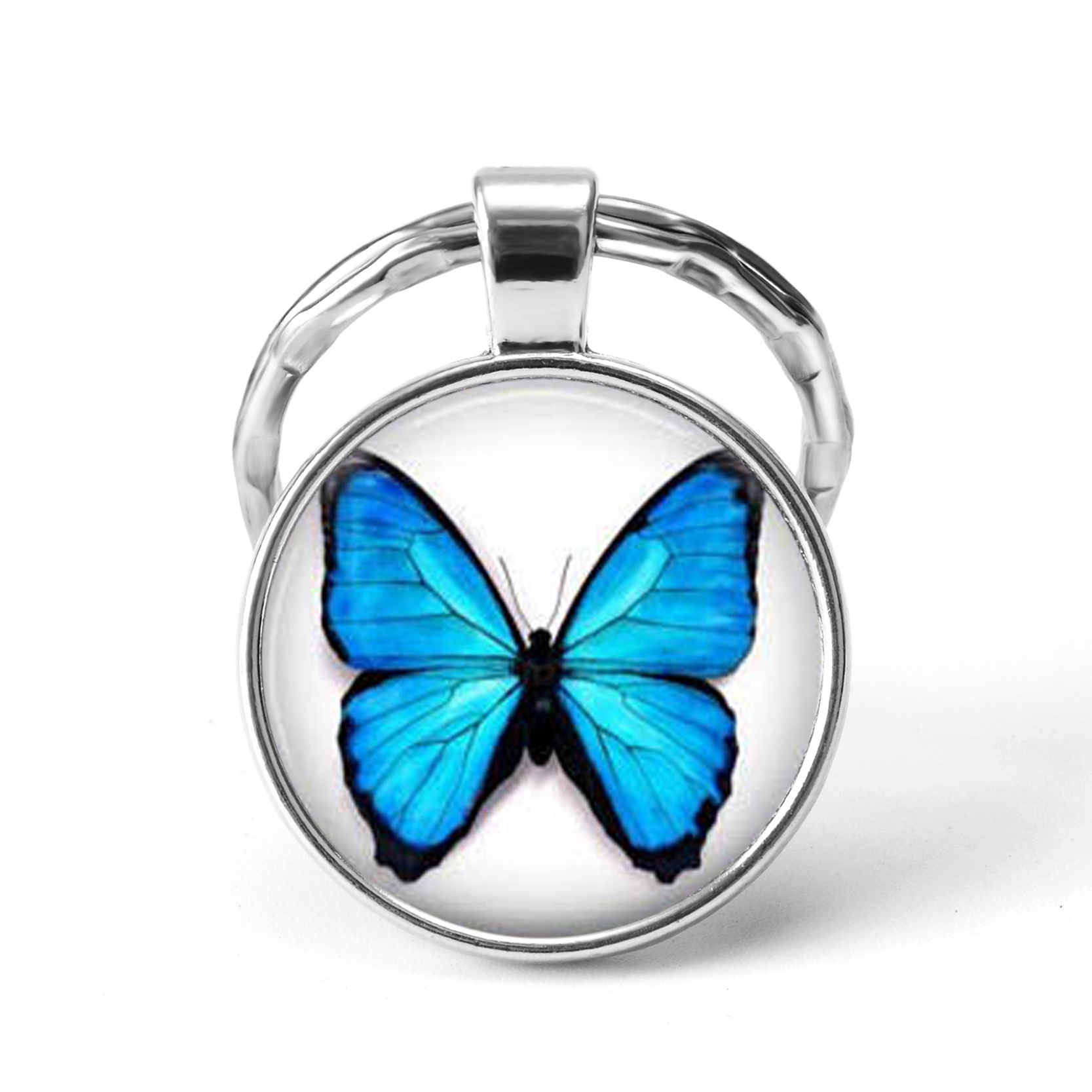 Blue Butterfly Pendant Silver Keychain Glass Cabochon Jewelry Cute Cat Claw Key Chain Ring Students Fashion Gift