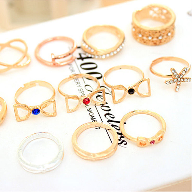5 piece/lot Fashion Boho Ethnic Style Gold color Cross Rings ...