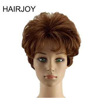 цена на HAIRJOY Synthetic Hair Women Short Curly Dark Brown Wig Heat Resistant Free Shipping