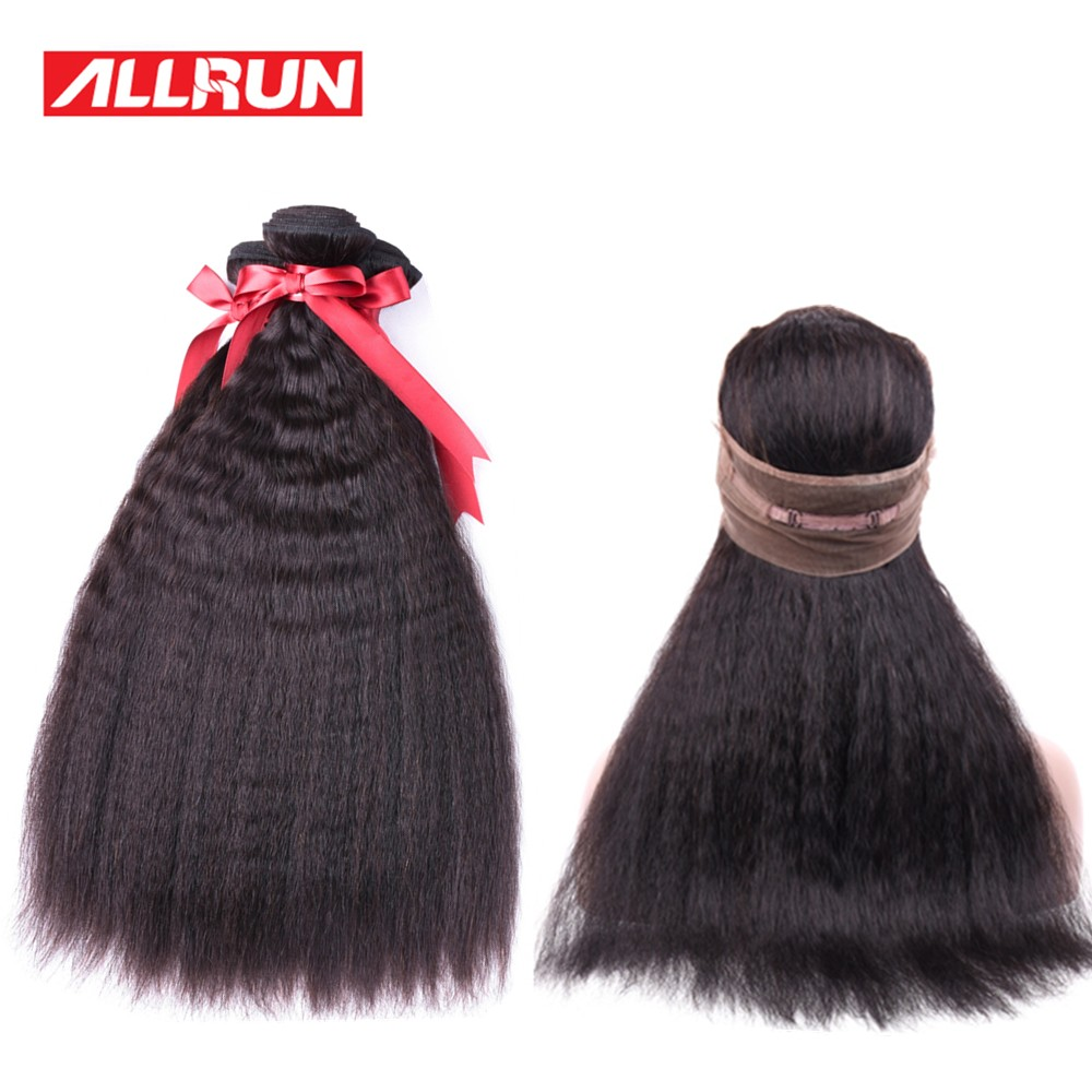 Allrun Peruvian Kinky Straight 3 Bundles Human Hair Extensions With 360 Lace Frontal Non-Remy Hair Weave Free Shipping 4Pcs/lot