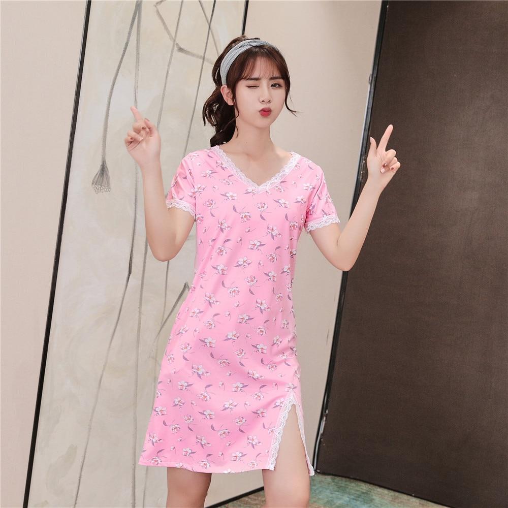 Casual Girls Nightgown V-neck Women Sleepwear Striped Nightwear Lace Night Gown ...