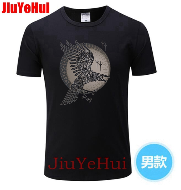 Brand New Men's TShirt Swag   T  -  shirts   For Men 100% Cotton Short Sleeve   T     Shirt   Raven Vikings Teenage Clothing Men   T  -  shirt