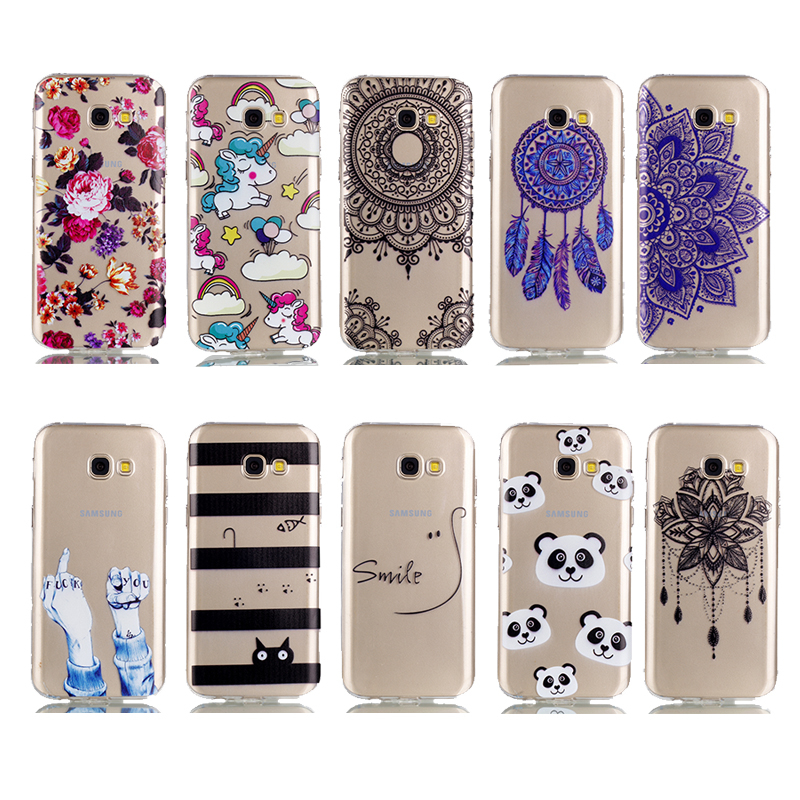 ProElite Painted Soft TPU Animal Clear Case for Samsung Galaxy A3 2017 Cat Panda Unicorn Back Cover for Samsung A320F A320 Capa