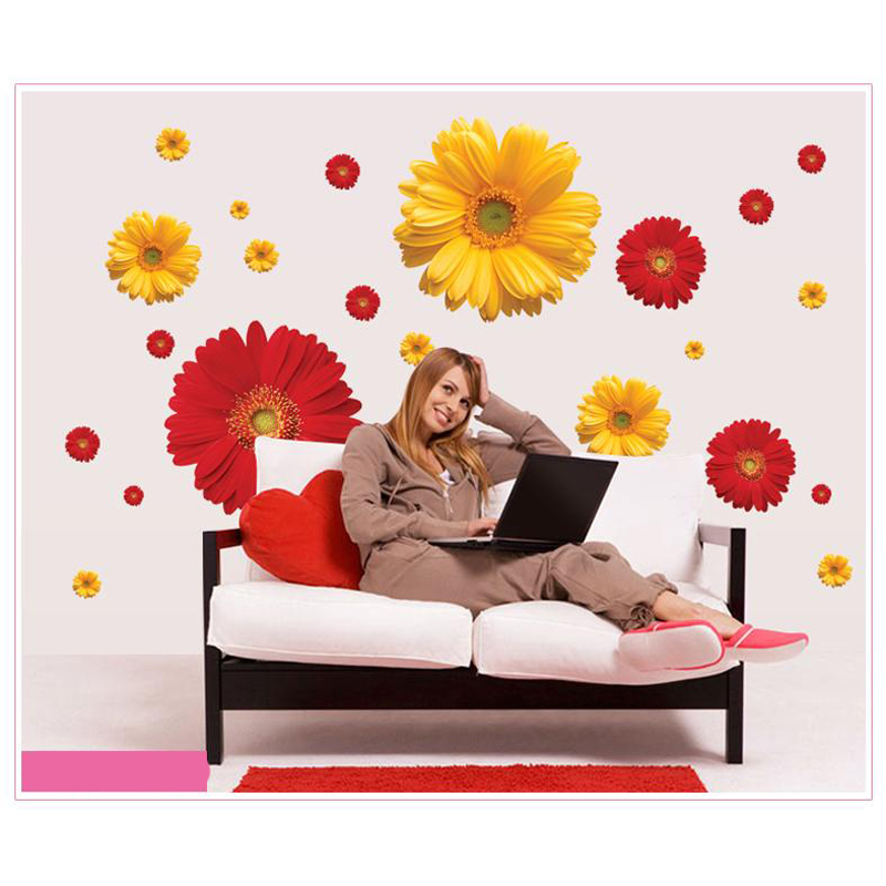 3d flowers viny wall stickers living room home decor diy for Bedroom 3d wall stickers