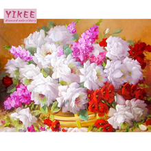 YIKEE Diamond Painting Flowers Bouquet Full Square Rhinestones Pictures Cross Stitch Mosaic House  h949