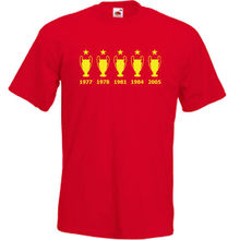 купить Liverpool 5 European Cups T Shirt FOOTBALLER RETRO CHAMPIONS Klopp New T Shirts Funny Tops Tee New Unisex Funny Tops по цене 770.05 рублей