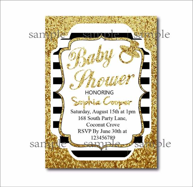 Placeholder 20 Pcs Gold Glitter Black Stripe Custom Birthday Party Invites Baby Shower Invitations Decoration Wedding