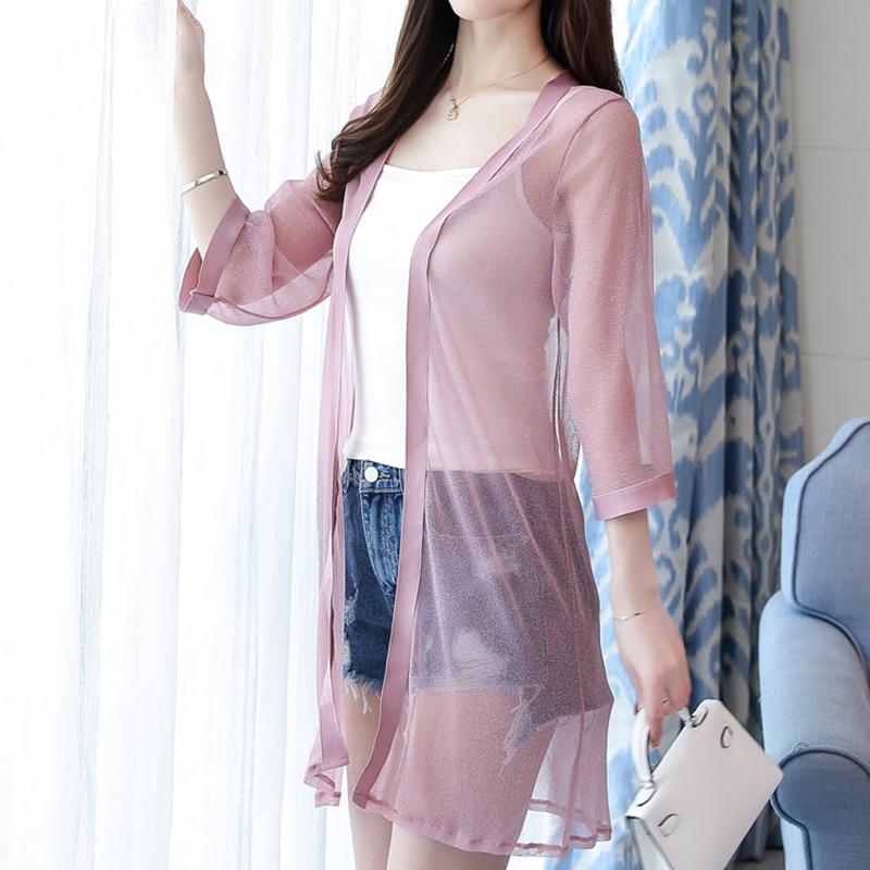 black Kimono 4 De Las Manga Protección Largo Blusa apricot Solar Transparente 3 Damas Blusas Pink Elegante Mujeres Malla Verano Femenina Playa q1qtRpwSx